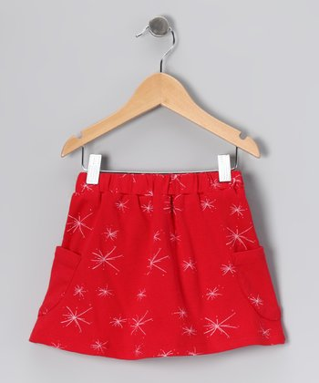 Red Starburst Pocket Organic Skirt - Toddler & Girls