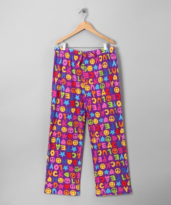 Purple Peace Ricky Pajama Pants - Kids