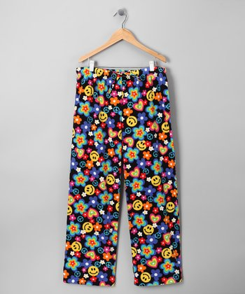 Black Floral Razzle Pajama Pants - Kids