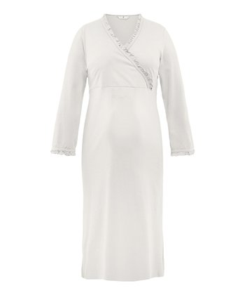 Off-White Eika Maternity Surplice Nightgown