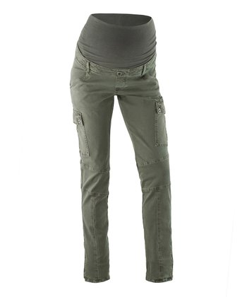 Olive Riana Over-Belly Maternity Cargo Pants