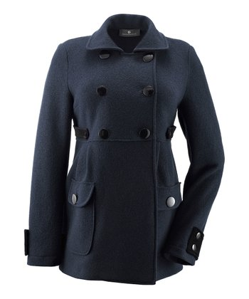 Navy Meena Wool Maternity Peacoat