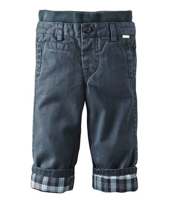 Dark Blue Plaid Pants - Infant