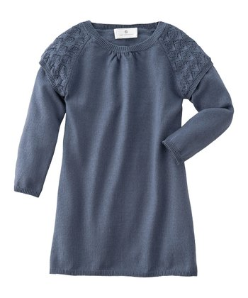 Blue Pointelle Knit Dress - Infant, Toddler & Girls
