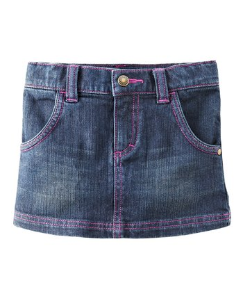Pink & Dark Wash Denim Skirt - Toddler & Girls