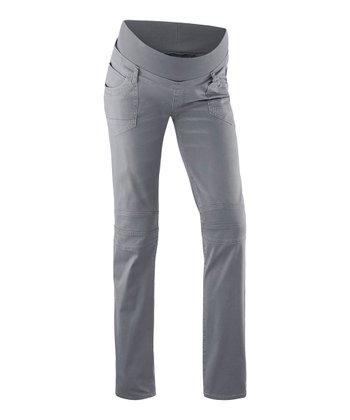 Gray Mary Over-Belly Maternity Straight-Leg Jeans