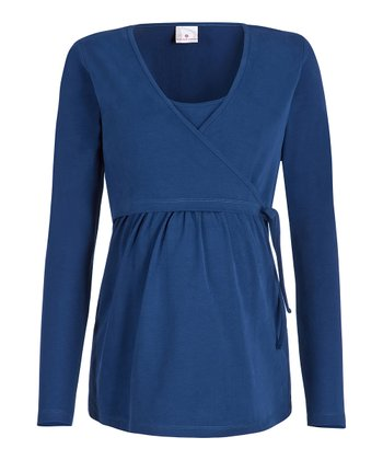 Dark Blue Hallie Maternity Wrap Top
