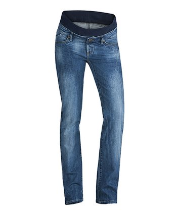 Denim Mary Mid-Belly Maternity Straight-Leg Jeans