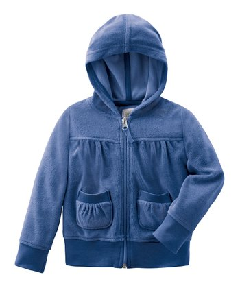 Deep Blue Terry Zip-Up Hoodie - Infant, Toddler & Girls