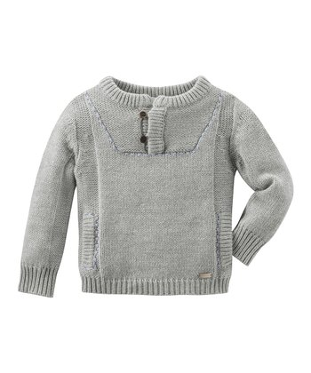 Gray & Medium Blue Knit Pullover - Infant