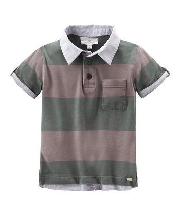 Green & Brown Stripe Polo - Boys