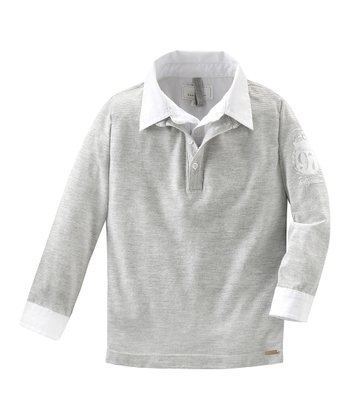 Gray Mélange Long-Sleeve Polo - Infant, Toddler & Boys