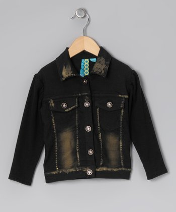 Black Button-Up Jacket - Toddler & Girls