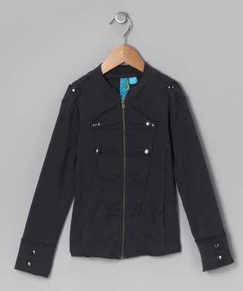 Charcoal Military Jacket - Toddler & Girls