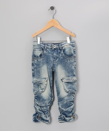 Acid Wash Ruched Jeans - Girls