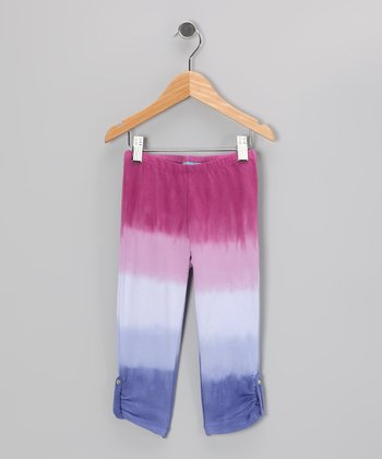 Periwinkle Stripe Ruched Leggings - Toddler