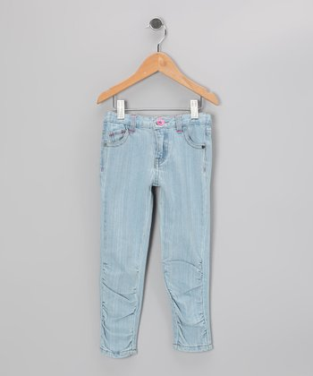 Light Blue Ruched Skinny Jeans - Girls