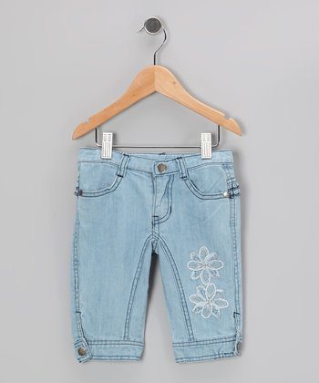 Light Blue Daisy Bermuda Shorts - Infant