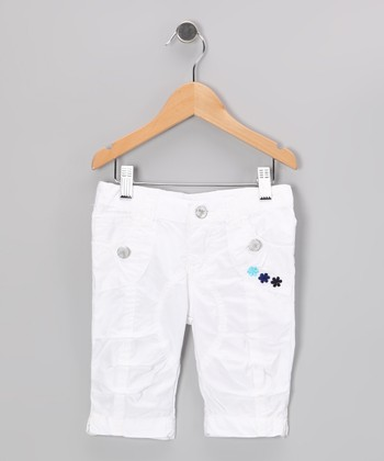 White Floral Bermuda Shorts - Toddler & Girls