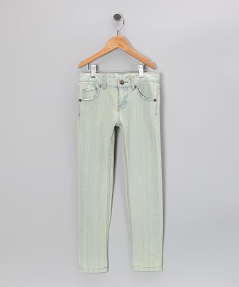 Ice Blue Stripe Skinny Jeans - Girls