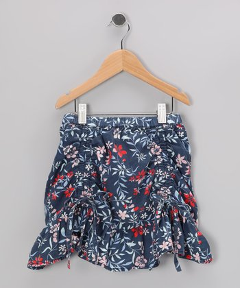 Blue Floral Ruched Skirt - Girls