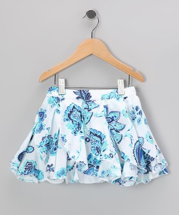 White & Blue Floral Skirt - Toddler & Girls