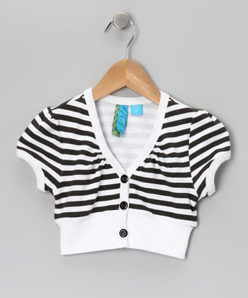 White & Black Stripe Shrug - Girls