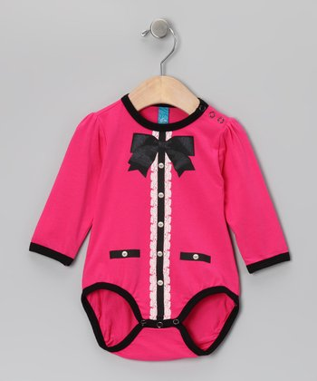 Fuchsia Polka Dot Bow Bodysuit - Infant