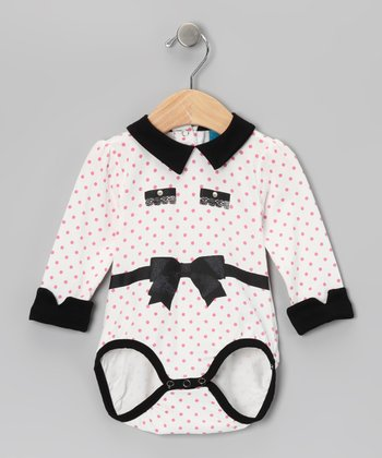 Off-White Polka Dot Bow Bodysuit - Infant