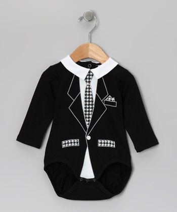 Black Houndstooth Tie Bodysuit - Infant