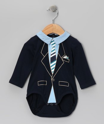 Navy Stripe Tie Bodysuit - Infant