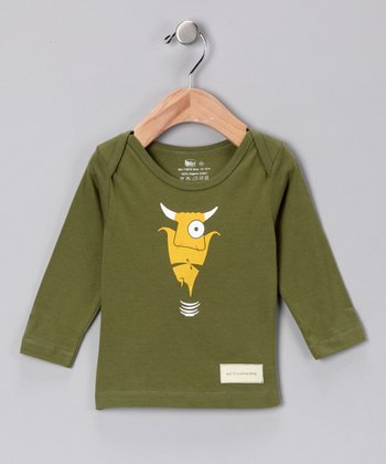 Olive Green Bull in a China Shop Organic Lap Neck Tee - Infant