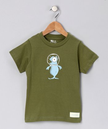 Olive Green Fish Out of Water Organic Tee - Kids