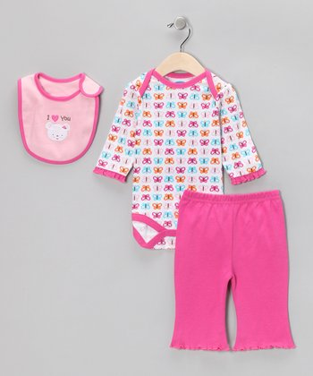 Fuchsia 'I Love You' Bear Bib Set