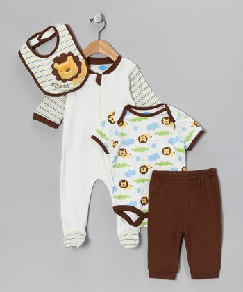 Brown & White Lion Layette Set