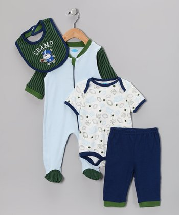 Green & Blue Football Layette Set