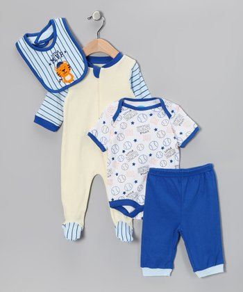 Blue & White Baseball Layette Set