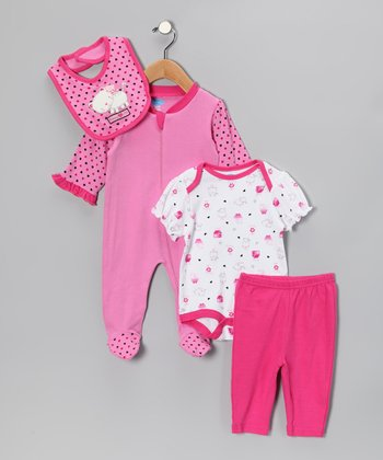 Pink & White Kitty Layette Set