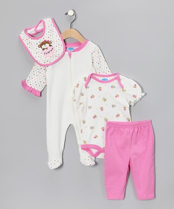 Pink & White Monkey Layette Set