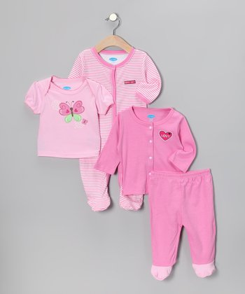 Pastel Pink Butterfly 'Love' Layette Set