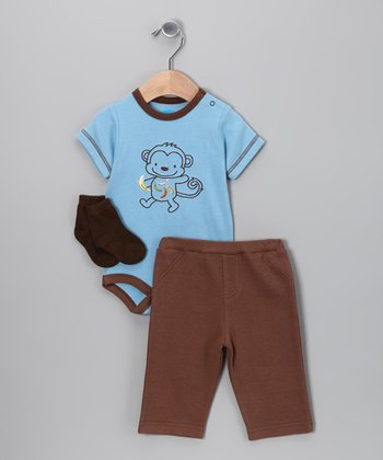 Blue & Brown Monkey Bodysuit Set