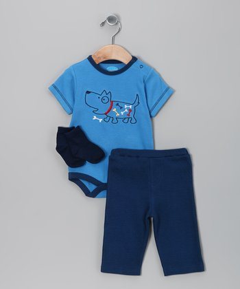 Blue Bone Bodysuit Set