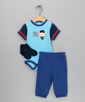 Blue & Royal '01' Bodysuit Set