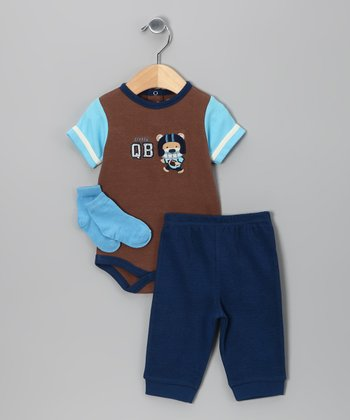 Brown & Navy 'QB' Bodysuit Set