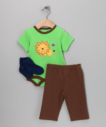 Green & Brown Lion Bodysuit Set
