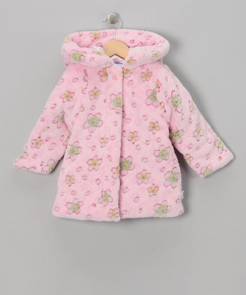 Pink Faux Fur Floral Jacket - Toddler
