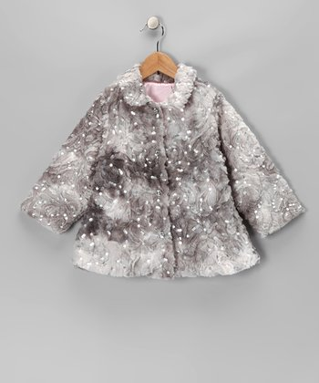 cachcach Gray Sequin Faux Fur Coat - Toddler & Girls