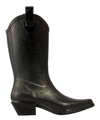Black Western Cowboy Rain Boot - Women