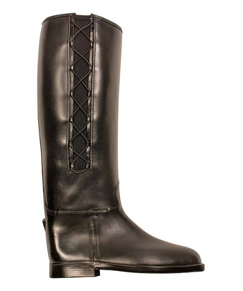 Black Equestrian Corded Rain Boot -  Women