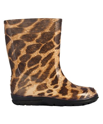 Black Leopard Rain Boot - Kids